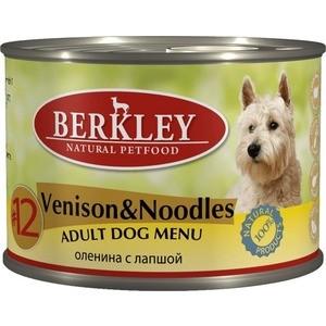 Консервы Berkley Adult Dog Menu Venison & Noodles № 12 с олениной и лапшой для взрослых собак 200г (75018)  недорого