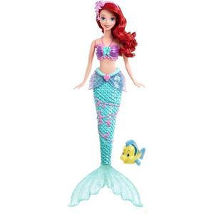 Mattel Disney Princess Кукла Принцессы Дисней Русалочка Ариель с фонтанчиком и рыбка Флаундер X9396  - купить со скидкой