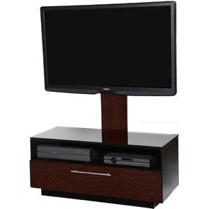 Тумба под телевизор Allegri Бриз 1 800 с плазмастендом красная вишня каркас черный стекло черное
