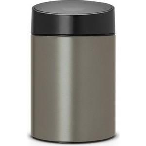 Ведро для мусора с крышкой 5 л Brabantia Slide Bin (483141) платиновый brabantia ведро для мусора touch bin 3 л 18 5х28 см стальное полированное