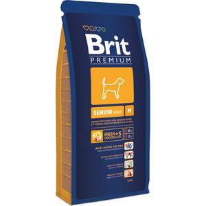 Сухой корм Brit Premium Senior M для пожилых собак средних пород 15кг (132345) корм сухой brit premium senior m для пожилых собак средних пород с курицей 3 кг