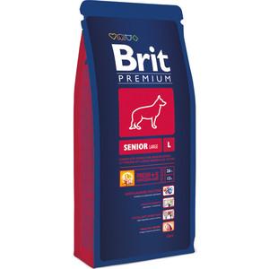 Сухой корм Brit Premium Senior L для пожилых собак крупных пород 15кг (132343) сухой корм brit premium сat senior для пожилых кошек курица и печень 1 5кг
