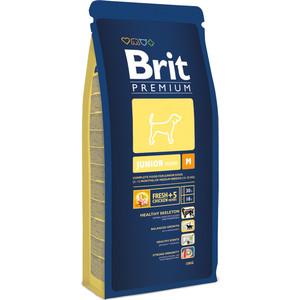 Сухой корм Brit Premium Junior M для молодых собак средних пород (2-12 мес) 18кг (132364) корм сухой brit premium senior m для пожилых собак средних пород с курицей 3 кг