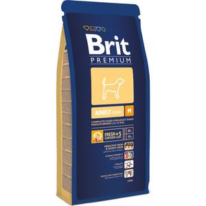 Сухой корм Brit Premium Adult M для взрослых собак средних пород 15кг (132323) корм сухой brit premium senior m для пожилых собак средних пород с курицей 3 кг