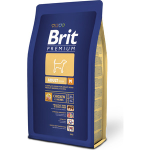 Сухой корм Brit Premium Adult M для взрослых собак средних пород 3кг (132324) корм сухой brit premium senior m для пожилых собак средних пород с курицей 3 кг