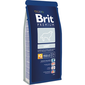 Сухой корм Brit Premium Light для собак всех пород, склонных к полноте 15кг (132339) корм для всех пород собак brit premium гипоаллергенный 1 кг