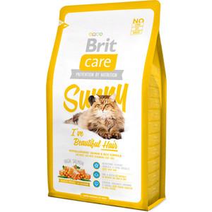Сухой корм Brit Care Cat Sunny Beautiful Hair гипоаллергенный с лососем и рисом для длинношерстных кошек 2кг (132619) brit care cat sunny beautiful hair 7 кг