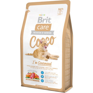 Сухой корм Brit Care Cat Cocco Gourmand гипоаллергенный беззерновой с уткой и лососем для кошек-гурманов 2кг (132628)