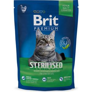 Сухой корм Brit Premium Cat Sterilized с курицей в соусе и куриной печенью для стерилизованных кошек 1,5кг (513161) консервы brit care cat tuna carrot