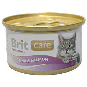 Консервы Brit Care Cat Tuna & Salmon с тунцом и лососем для кошек 80г (100060)