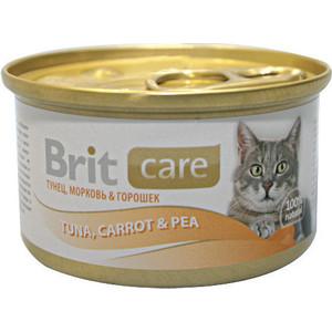 Консервы Brit Care Cat Tuna,Carrot & Pea с тунцом,морковью и горошком для кошек 80г (100062)