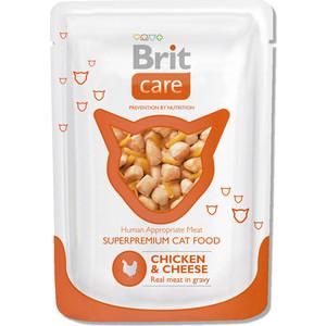 Паучи Brit Care Cat Chicken & Cheese c курицей и сыром для кошек 80г (100118) brit brit premium by nature adult xl сухой корм для собак гигантских пород с курицей 15 кг