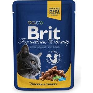Паучи Brit Premium Cat Chicken & Turkey с курицей и индейкой для кошек 100г (100308) паучи brit premium cat chicken slices for sterilised с кусочками курицы для стерилизованных кошек 100г 100310
