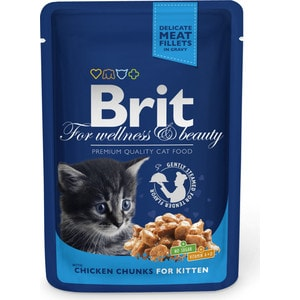 Паучи Brit Premium Cat Kitten Chicken Chunks с кусочками курицы для котят 100г (100309) паучи brit premium cat chicken slices for sterilised с кусочками курицы для стерилизованных кошек 100г 100310