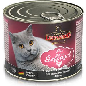 Консервы Leonardo Quality Selection Pure Poultry c птицей для кошек 200г (756121) консервы leonardo quality selection rich in rabbit c кроликом для кошек 400г 756219