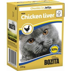 Консервы BOZITA Chunks in Jelly with Chicken Liver кусочки в желе с куриной печенью для кошек 370г (4955) консервы для кошек bozita feline с лососем в желе 370 г