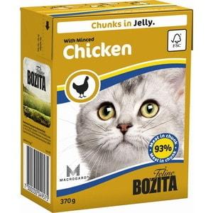 Консервы BOZITA Chunks in Jelly with Minced Chicken кусочки в желе с рубленной курицей для кошек 370г (4957) консервы для кошек bozita feline с лососем в желе 370 г
