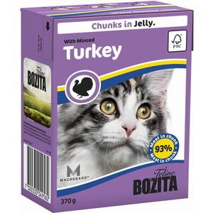 Консервы BOZITA Chunks in Jelly with Minced Turkey кусочки в желе с рубленной индейкой для кошек 370г (4958) консервы для кошек bozita feline с лососем в желе 370 г