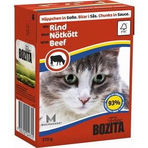 Консервы BOZITA Chunks in Sauce with Beef кусочки в соусе с говядиной для кошек 370г (4931) консервы для кошек bozita feline с лососем в желе 370 г
