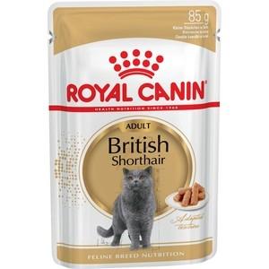 Паучи Royal Canin British Shorthair Adult кусочки в соусе для кошек британской короткошерстной породы 85г (540001) цена