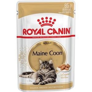 Паучи Royal Canin Maine Coon Adult кусочки в соусе для кошек породы мейн-кун 85г (542001) консервы royal canin maine coon adult для кошек породы мейн кун в возрасте старше 15 месяцев мелкие кусочки в соусе 85 г