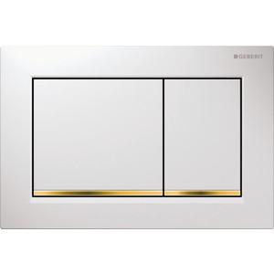 Клавиша Geberit Omega 30 двойной смыв (115.080.KK.1) белый/золото