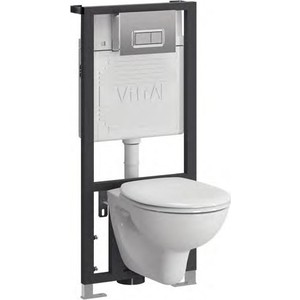 Унитаз с инсталляцией Vitra Arkitekt кнопка хром (9005B003-7211) унитаз компакт vitra 9012b003 7202