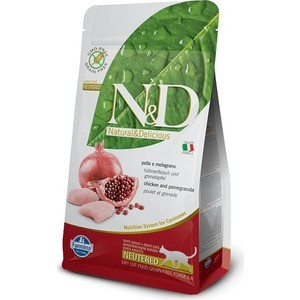 Сухой корм Farmina N&D Neutered Cat GF Chicken & Pomegranate беззерновой с курицей и гранатом для стерилизованных кошек 5кг (32690)