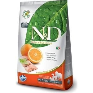 Фотография товара сухой корм Farmina N&D Adult Dog Medium GF Fish & Orange беззерновой с рыбой и апельсином для собак всех пород 12кг (20291) (614799)