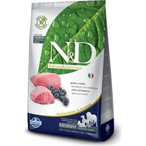 Сухой корм Farmina N&D Adult Dog Medium GF Lamb & Blueberry беззерновой с ягненком и черникой для собак всех пород 800г (20376)