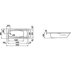 Ванна стальная Laufen Palladium 180х80х43 с шумоизоляцией (2.2510.0.000.040.1) от ТЕХПОРТ