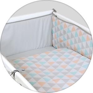 Постельное белье Ceba Baby (Себа Беби) 3 пр. Triangle turquoise- orange принт W-800-067-016-1