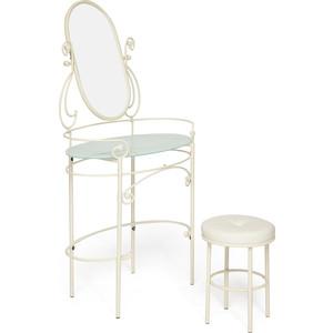 Столик туалетный TetChair ALBERT античный белый (столик, зеркало, пуф)