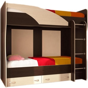 Кровать двухъярусная Стиль Мийа (У) Фасад ЛДСП- Дуб молочный Каркас- венге