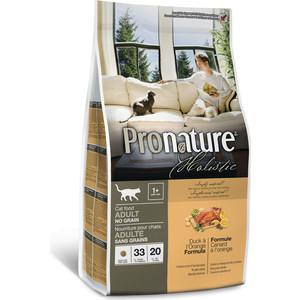 Сухой корм Pronature Holistic Adult Cat No Grain Duck & Orange Formula беззерновой c уткой и апельсином для кошек 2,72кг (102.2021) сухой корм pronature holistic adult cat no grain duck