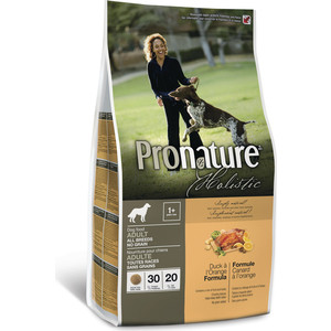Сухой корм Pronature Holistic Adult Dog No Grain Duck & Orange Formula беззерновой c уткой и апельсином для собак всех пород 13,6кг (102.2002)  сухой корм pronature holistic adult cat no grain duck