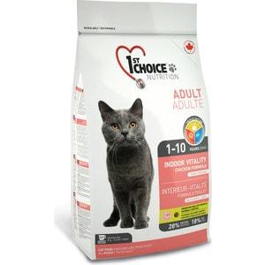 Сухой корм 1-ST CHOICE Adult Cat Indoor Vitality Chicken Formula с курицей для домашних кошек 5,44кг (102.1.213)