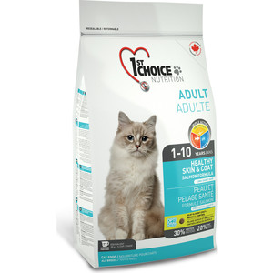 Сухой корм 1-ST CHOICE Adult Cat Healthy Skin & Coat Salmon Formula с лососем здоровая кожа и шерсть для кошек 2,72кг (102.1.222)