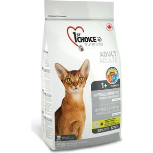 Сухой корм 1-ST CHOICE Adult Cat Hypoallergenic Grain Free with Duck беззерновой с уткой и бататом для кошек с проблемами пищеварения 5,44кг(102.1.252)