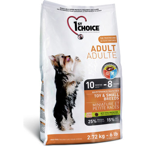 Сухой корм 1-ST CHOICE Adult Dog Toy & Small Breeds Chicken с курицей для собак мелких пород 1кг (102.313)