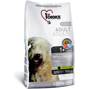 Сухой корм 1-ST CHOICE Adult Dog Hypoallergenic Potatoes & Duck Formula с уткой и картофелем для собак с чувствительным ЖКТ 2,72кг