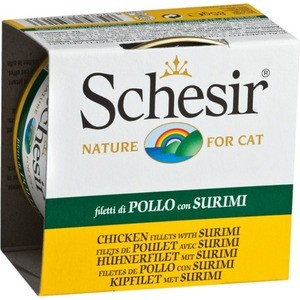 Консервы Schesir Nature for Cat Chicken Fillets with Surimi кусочки в желе с куриным филе и сурими для кошек 85г (С161) консервы schesir nature for cat chicken fillets