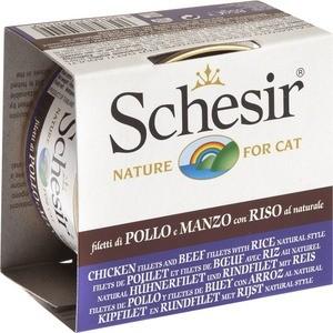 Консервы Schesir Nature for Cat Chicken Fillets Beef&Rice Natural Style кусочки в собственном соку с курицей,говядиной рисом для кошек 85г(С179) schesir с тунцом и куриным филе