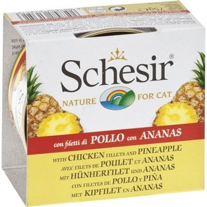 Консервы Schesir Nature for Cat Chicken Fillets & Pineapple кусочки в желе с куриным филе и ананасом для кошек 75г (С351) schesir с тунцом и куриным филе