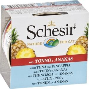 Консервы Schesir Nature for Cat Tuna & Pineapple кусочки в желе с тунцом и ананасом для кошек 75г (С353) упаковка консервов 14 шт schesir для кошек тунец ананас рис 75 гр x 14 шт