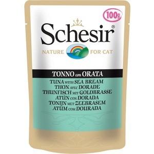 Паучи Schesir Nature for Cat Tuna with Sea Bream кусочки в желе с тунцом и дорадо (морским лещем) для кошек 100г (С581) влажный корм schesir для кошек тунец 100 гр