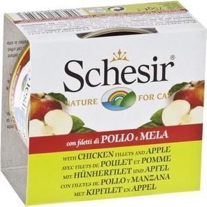 Консервы Schesir Nature for Cat Chicken Fillets & Apple кусочки в желе с куриным филе и яблоком для кошек 75г (С352) schesir с тунцом и куриным филе