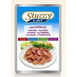 Паучи Stuzzy Cat Skin Care & Heart Support with Veal кусочки в соусе с телятиной, забота о коже и сердце для кошек 100г (132.С2404) linlin laser wart mole removal tattoo spot dark freckle tag pen wart machine skin care salon home beauty device remaval care
