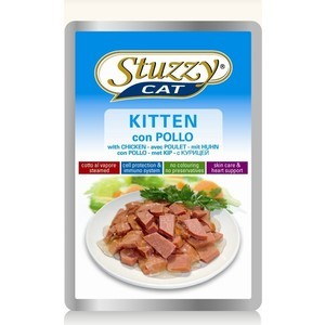 Паучи Stuzzy Cat Kitten Skin Care & Heart Support with Chicken кусочки в соусе с курицей, забота о коже и сердце для котят 100г (132.С2451) linlin laser wart mole removal tattoo spot dark freckle tag pen wart machine skin care salon home beauty device remaval care