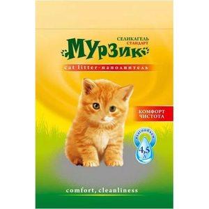Наполнитель Мурзик Силикагель впитывающий силикагель для кошек 4л